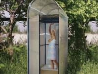Туалет деревянный, душ с раздевалкой для дачного участка